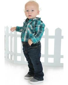 Wrangler Infant Boys' Plaid Snap Long Sleeve Bodysuit , Turquoise, hi-res