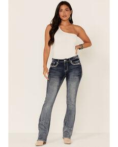 Grace in LA Women's Medium Wash Sequin Pocket Mid Rise Bootcut Jeans, Blue, hi-res