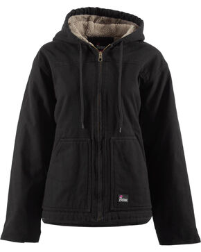 Berne Women's Washed Sherpa-Lined Hooded Coat, Black, hi-res
