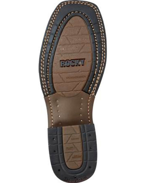 Rocky Men's HandHewn Work Sole Western Boots - Square Toe, Brown, hi-res