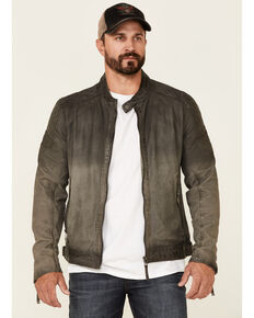 Mauritius Leather Men's Charcoal Lazzlo Distressed Zip-Front Moto Leather Jacket , Charcoal, hi-res