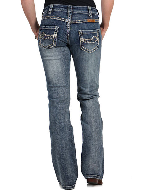 Cowgirl Tuff Women's Timeless Barbed Wire Jeans - Boot Cut , Blue, hi-res