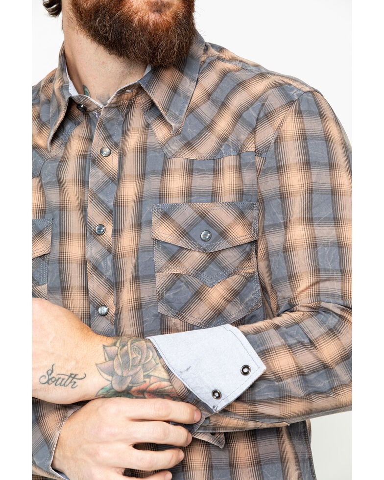 Rock & Roll Denim Men's Yarndye Plaid Long Sleeve Western Shirt, Brown, hi-res