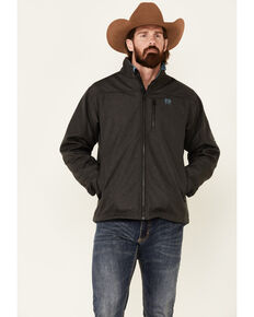 Cinch Men's Charcoal Logo Texture Zip-Front Bonded Jacket , Charcoal, hi-res
