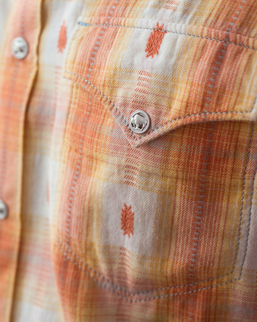 Ryan Michael Men's Ombre Dobby Plaid Shirt, Tang, hi-res
