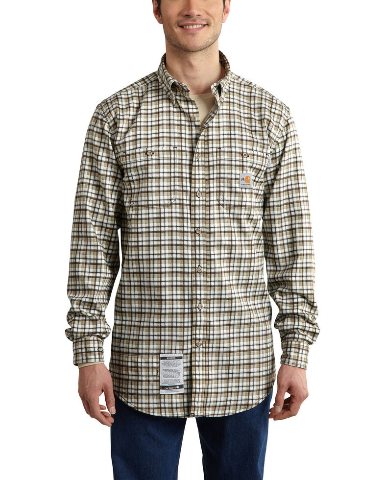 Carhartt Men's Flame Resistant Classic Plaid Shirt, Beige, hi-res