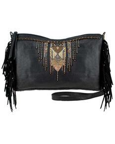 Mary Frances Fringe Embroidered Handbag, Black, hi-res