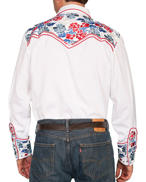 Scully Vibrant Floral Embroidered Retro Western Shirt, White, hi-res