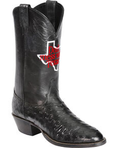Justin Men's Don't Mess With Texas Full Quill Ostrich Cowboy Boots - Round Toe, Black, hi-res