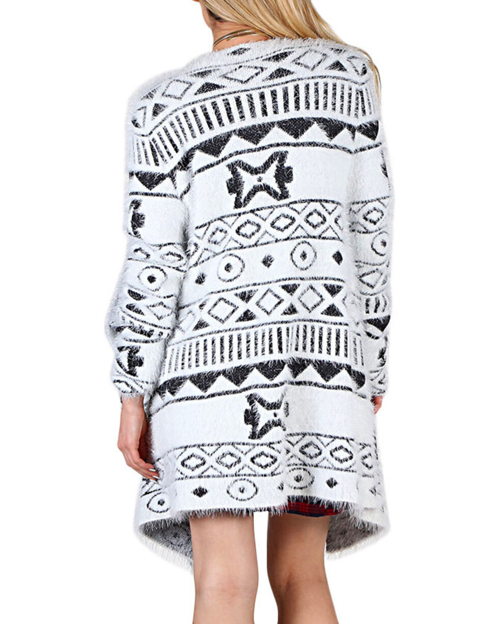 Shyanne Women's Tribal Patterned Draping Cardigan, White, hi-res