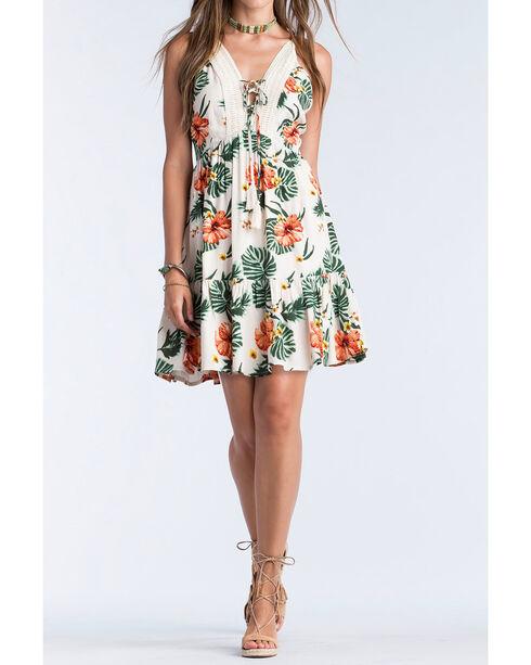Miss Me Women's Khaki Spaghetti Strap Floral Dress , Khaki, hi-res