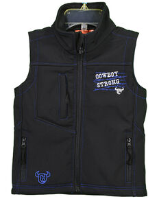 Cowboy Hardware Boys' Black Cowboy Strong Poly Shell Vest , Black, hi-res