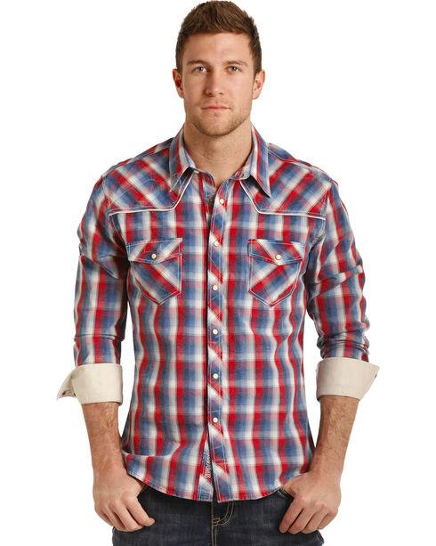 Rock & Roll Cowboy Men's Poplin Plaid Long Sleeve Snap Shirt, Red/white/blue, hi-res