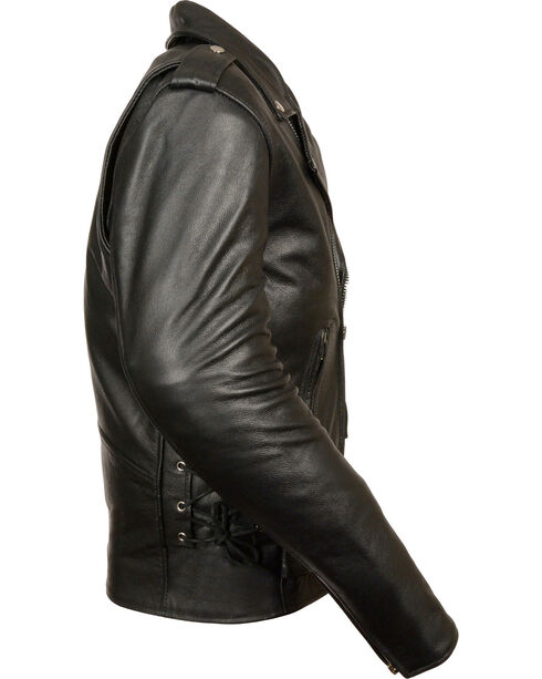 Milwaukee Leather Men's Classic Side Lace Police Style Motorcycle Jacket - Big - 5X, Black, hi-res