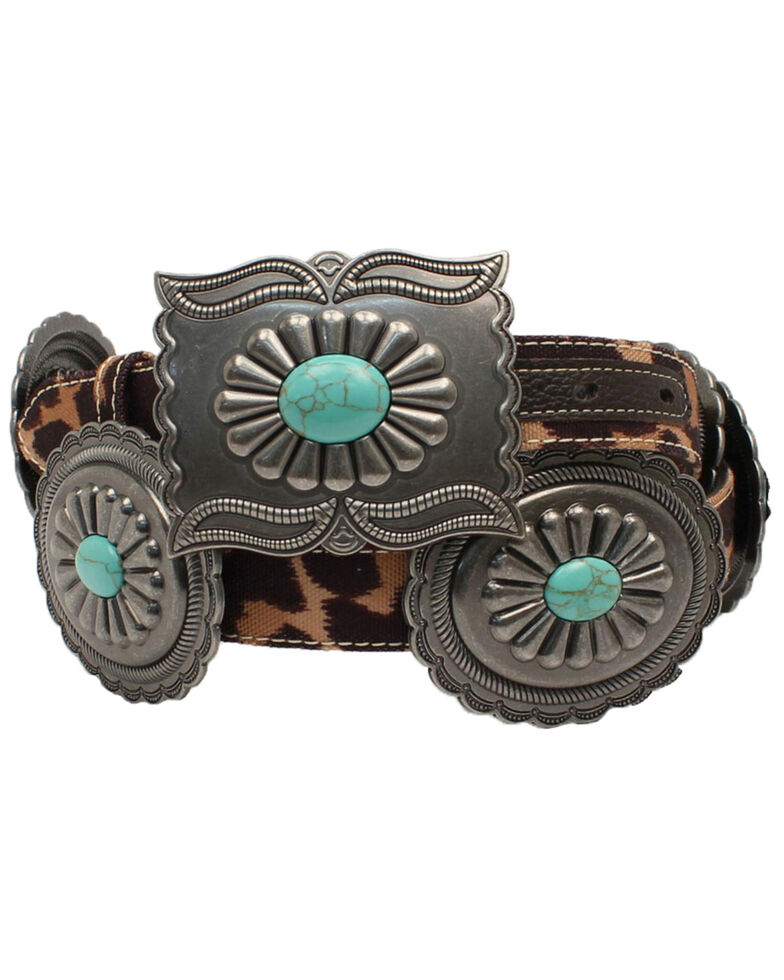 Ariat Women's Leopard Print Western Belt, Brown, hi-res