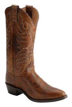 Justin Traditional Leather Western Cowboy Boots - Medium Toe, Tan, hi-res