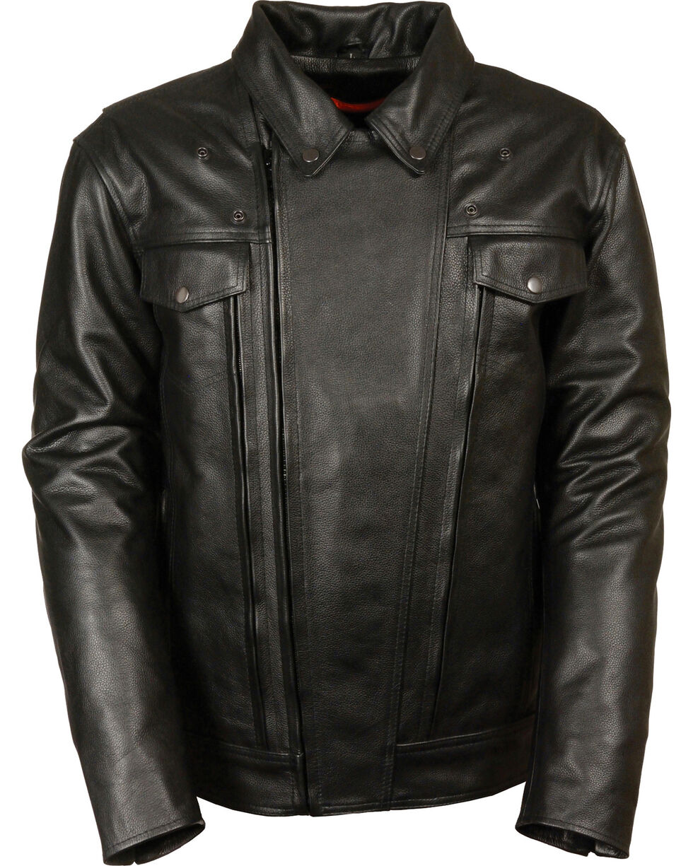 Milwaukee Leather Men's Utility Vented Cruiser Jacket - Tall 4X, Black, hi-res