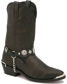 Dingo Concho Harness Cowboy Boots, Black, hi-res