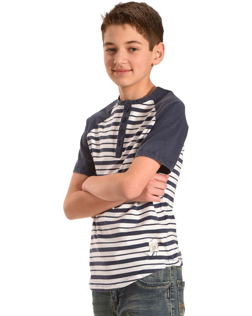 Silver Boys' Navy Raglan Striped Henley Tee , Navy, hi-res