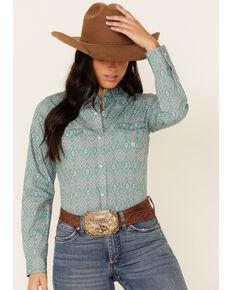 Roper Women's Jade Quarry Medallion Paisley Print Long Sleeve Snap Western Core Shirt , Teal, hi-res