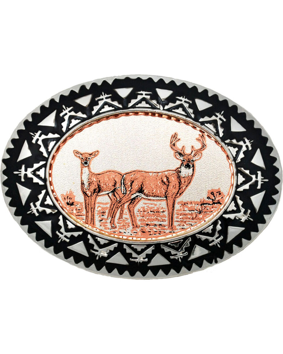 Western Express Men's Copper Deer Belt Buckle , Rust Copper, hi-res