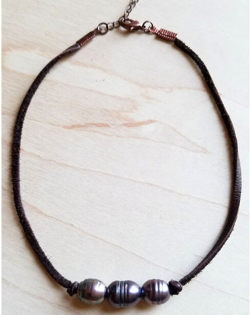 Jewelry Junkie Women's Grey Triple Freshwater Leather Choker Necklace , Grey, hi-res
