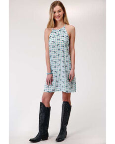 Roper Youth Girls' Buffalo Plaid Dress, Blue, hi-res