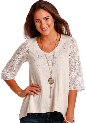 Panhandle Slim Women's Cream 1/2 Sleeve Swing Top , Cream, hi-res
