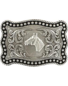 Nocona Men's Silver Horse Head Belt Buckle , Silver, hi-res