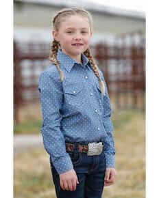 Cruel Girl Girls' Blue Dot Long Sleeve Western Shirt, Blue, hi-res