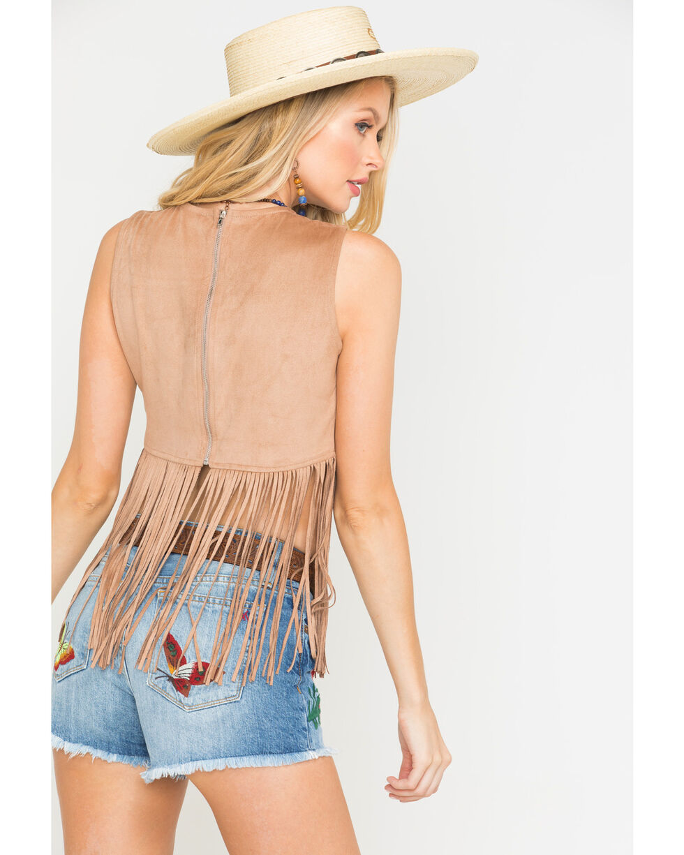 Freeway Apparel Women's Tan Long Fringe Top, Tan, hi-res