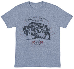 Wrangler Men's Authentic Western Wrangler Buffalo Tee, Indigo, hi-res