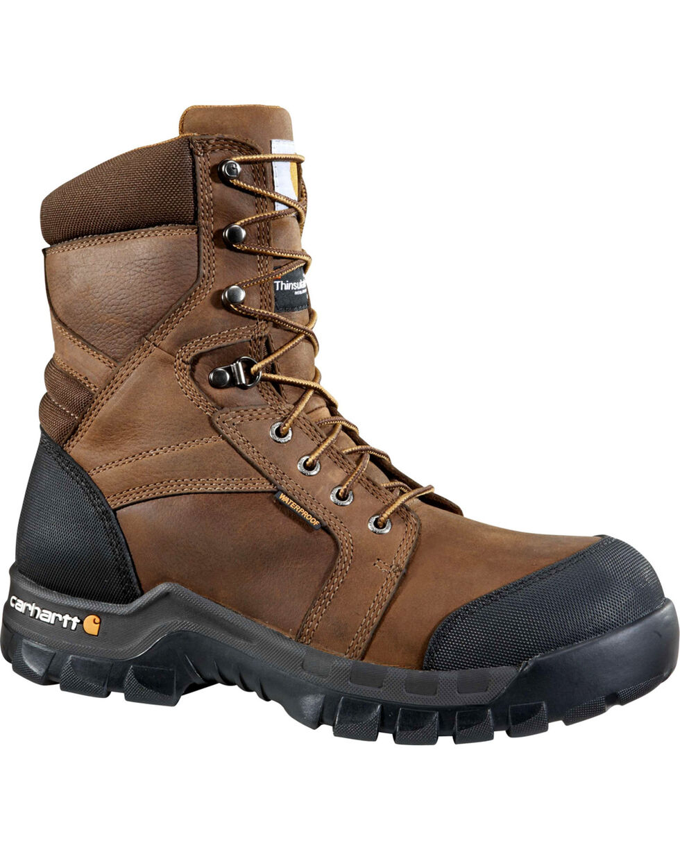 """Carhartt Men's 8"""" Dark Brown Waterproof Insulated Rugged Flex Work Boots - Round Toe, Dark Brown, hi-res"""