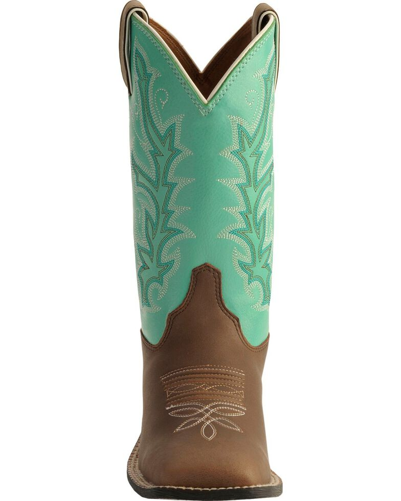 Justin Youth Boys' Turquoise Shaft Cowboy Boots - Square Toe, Chocolate, hi-res