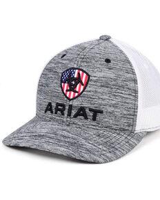 Ariat Boys' Grey Flag Logo Embroidered Mesh-Back Ball Cap , Grey, hi-res