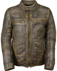 Milwaukee Leather Men's Brown Distressed Scooter Jacket w/ Venting - Big - 5X, Black/tan, hi-res