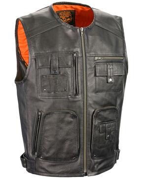 Milwaukee Leather Men's Zipper Front Super Utility Multi Pocket Vest, Black, hi-res