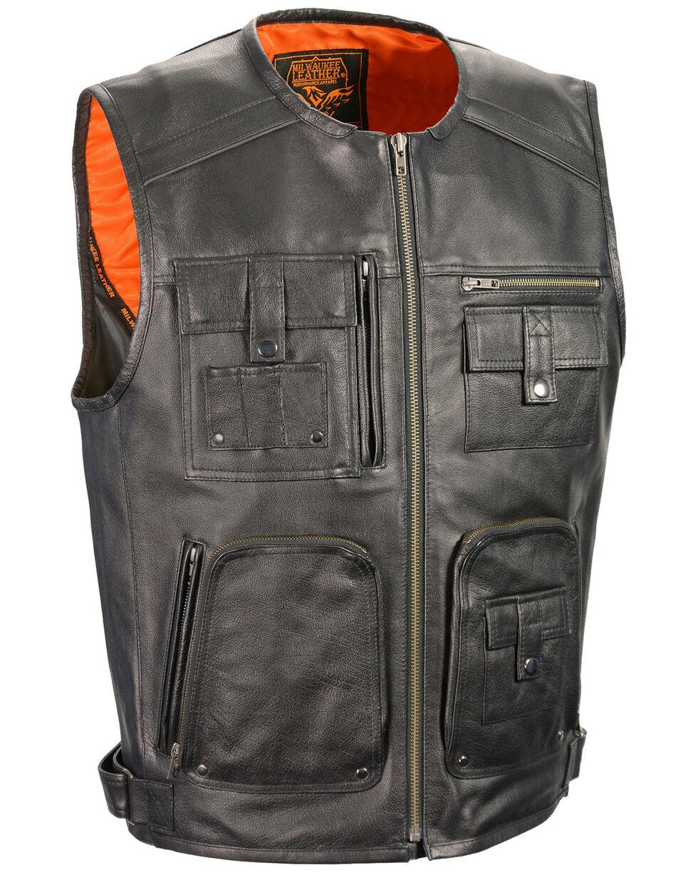 Milwaukee Leather Men's Zipper Front Super Utility Multi Pocket Vest, Black, hi-res