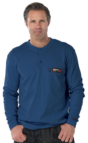 Cinch WRX Flame Resistant Long Sleeve Henley Shirt, Blue, hi-res