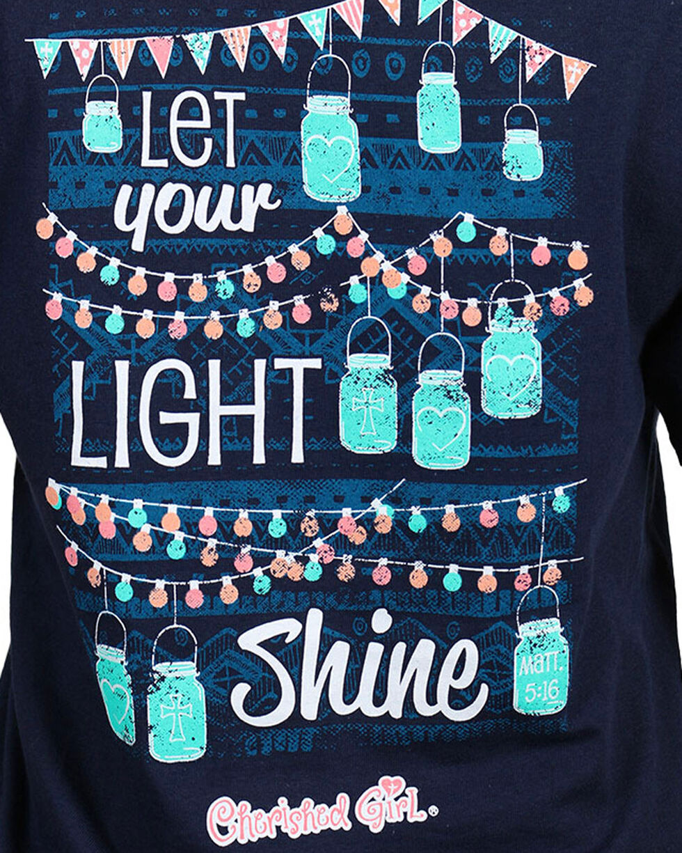 Cherished Girl Women's Navy Let Your Light Shine Tee , Navy, hi-res