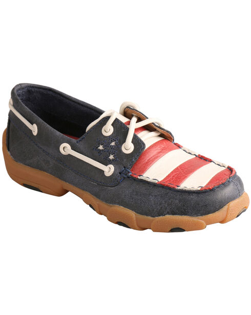 Twisted X American Flag VFW Leather Driving Mocs, Blue Dust, hi-res