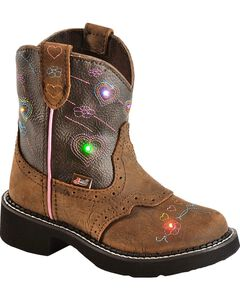 Justin Youth Gypsy Light Up Heart Embroidered Cowgirl Boots - Round Toe, Brown, hi-res