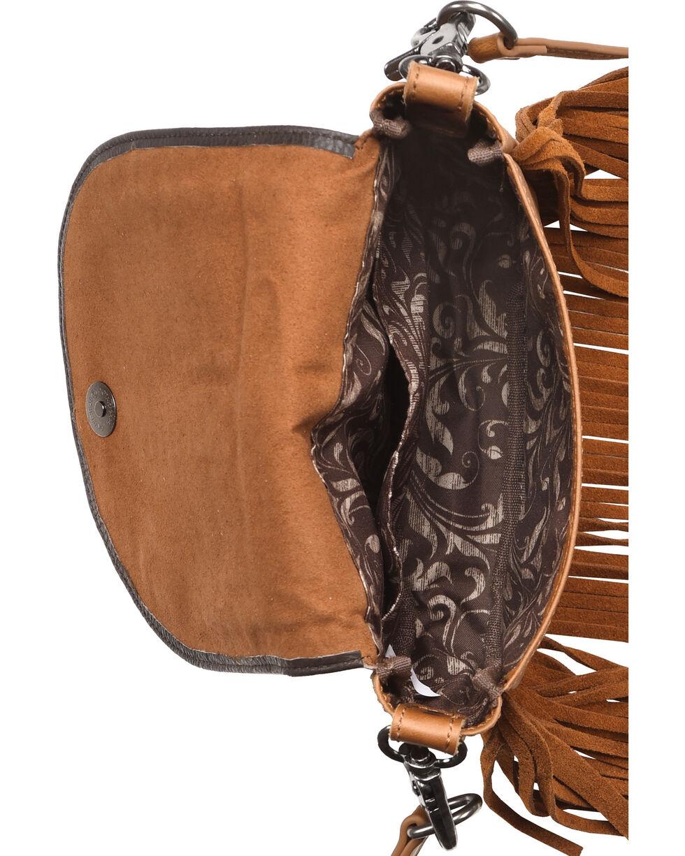 Montana West Women's Brown Leather Fringe Crossbody Bag , Brown, hi-res