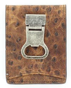 Nocona Ostrich Print Money Clip Bi-Fold Wallet, Brown, hi-res