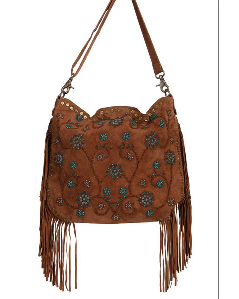 Scully Women's Side Fringe Handbag, Brown, hi-res