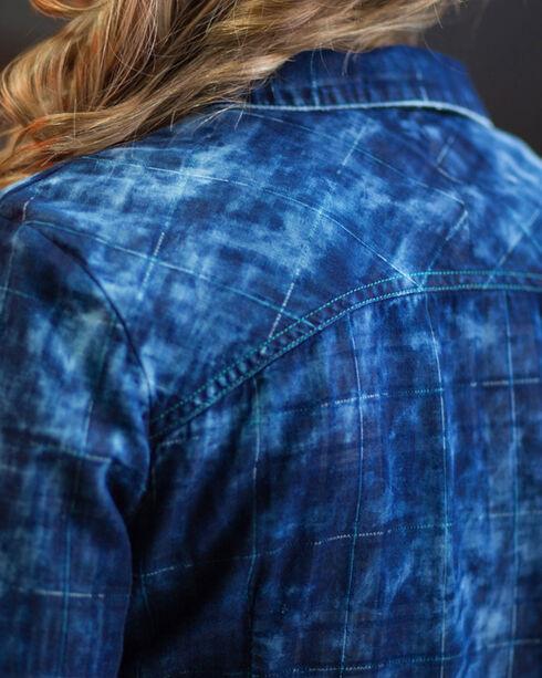 Ryan Michael Women's Midnight Tiered Sleeve Shirt, Indigo, hi-res
