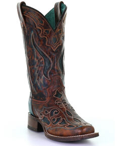 Corral Women's Rodeo Laser Western Boots - Square Toe, Brown, hi-res