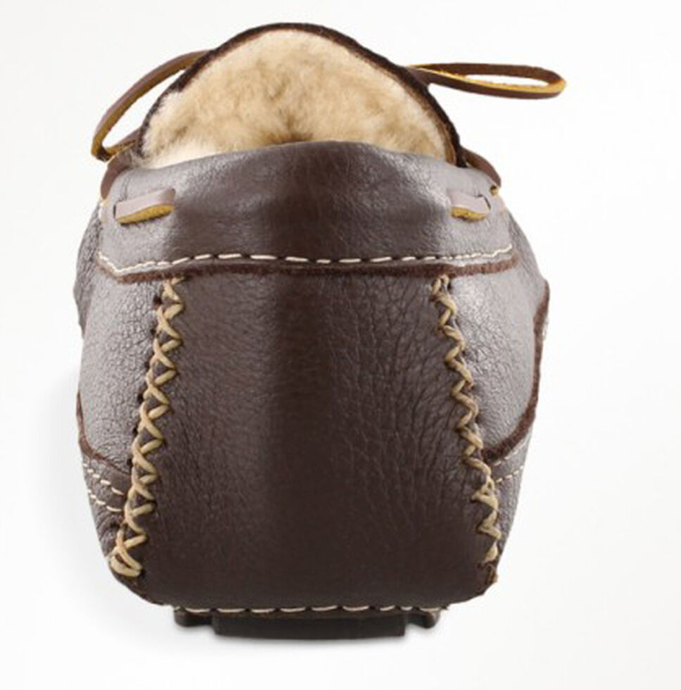 Minnetonka Men's Sheepskin Moose Slippers, Chocolate, hi-res