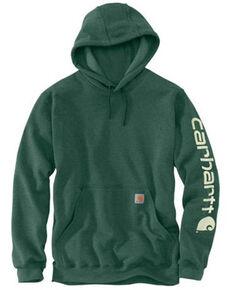 Carhartt Men's North Woods Heather Signature Sleeve Logo Hooded Work Sweatshirt - Tall , Green, hi-res