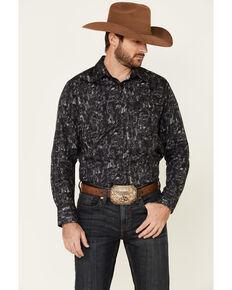 Rock & Roll Denim Men's Charcoal Floral Print Long Sleeve Western Shirt, Charcoal, hi-res